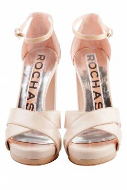Rochas Beige Leather Cross Strap Platform Block Heel Sandals Size 37 204839