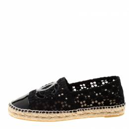 Black Lace And Patent Leather CC Espadrilles Size 40 Chanel