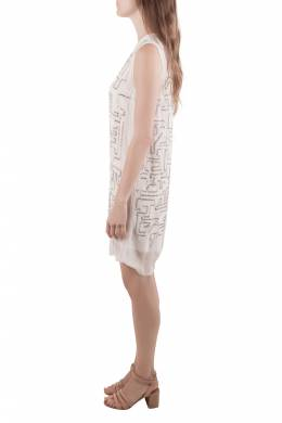 3.1 Phillip Lim White Chiffon Silver Sequined Maze Embellished Shift Dress S 205291