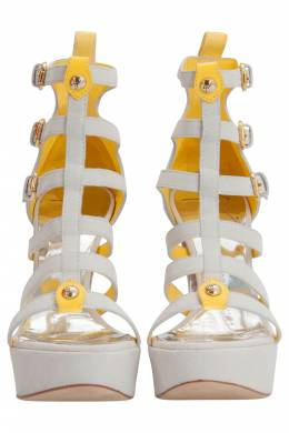 Giuseppe Zanotti White And Yellow Suede Strappy Platform Sandals Size 36 206277
