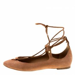 Chloe Brown Suede Foster Lace-up Ballet Flats Size 39