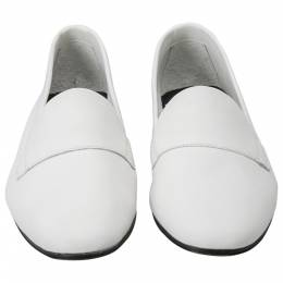 Pierre Hardy White Leather Jacno Slip On Loafers Size 37 205963