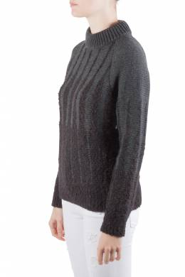 Etro Charcoal Grey Wool and Alpaca Textured Knit Long Sleeve High Sweater S 206007