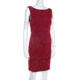 Alice+Olivia Red Floral Embroidered Sleeveless Sheath Dress M