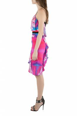 Peter Pilotto Multicolor Orchid Print Cutout Embroidered Silk Cascade Dress S 204572
