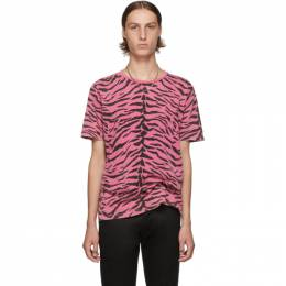 Saint Laurent	 Pink and Black Used-Look Zebra T-Shirt 192418M21300304GB