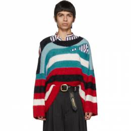 Blue and Red Wild Things Sweater Charles Jeffrey Loverboy CJLAW19WTJ