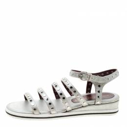 Marc by Marc Jacobs Metallic Silver Leather Gena Studded Ankle Strap Flat Sandals Size 36 207663
