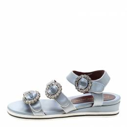 Marc by Marc Jacobs Grey Satin Crystal Embellished Buckle Flat Strappy Sandals Size 36 207665