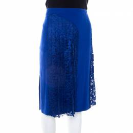 Joseph Cobalt Blue Pleated Lace Detail Courtney Skirt M 207125