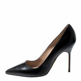 Manolo Blahnik Black Leather BB Pointed Toe Pumps Size 38.5