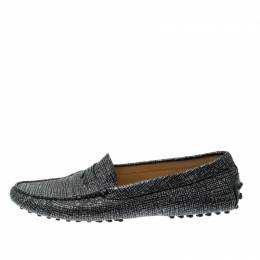 Tod's Black And Glitter Textured Leather Gommini Slip On Loafers Size 39.5 207031