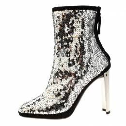 Giuseppe Zanotti Metallic Silver Sequin Stretch Ankle Boots Size 37 207681
