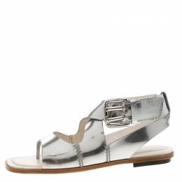 Tod's Metallic Silver Leather Flat Sandals Size 38.5 206942