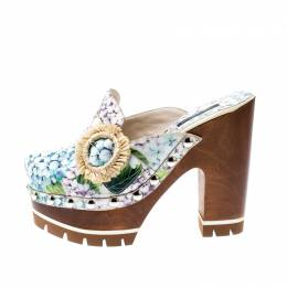 Dolce and Gabbana Multicolor Hydrangea Print Patent Leather Taormina Platform Clogs Size 36.5 206904