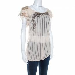 Kenzo Buttercream Foil Print Striped Knit Layered Tulle Sleeve Top XL 207865