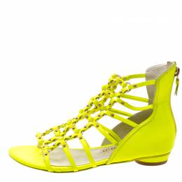Sophia Webster Neon Green Leather Studded Flat Sandals Size 38 208159
