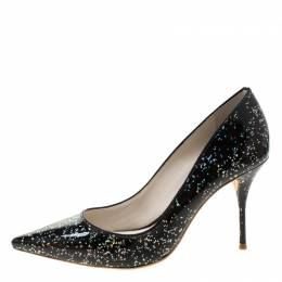 Sophia Webster Black Glitter Patent Leather Pointed Toe Pumps Size 38 208111
