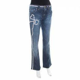 Blumarine Indigo Faded Effect Denim Crystal Bow Embellished Straight Fit Jeans M 207883