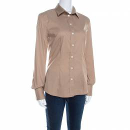 Dolce and Gabbana Brown Cotton Button Front Long Sleeve Shirt M 207852
