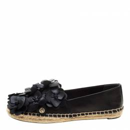 Tory Burch	 Black Leather Blossom Floral Applique Espadrilles Size 36 207984