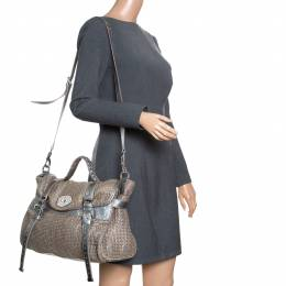 Mulberry Sparkle Grey Woven Fabric Alexa Top Handle Shoulder Bag 162540