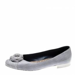 Chanel Lilac and White Striped Camellia Ballet Flats Size 39.5 208064