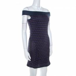 M Missoni Multicolor Patterned Lurex Knit Off Shoulder Dress M 208477