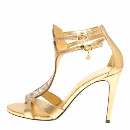 Loriblu Metallic Gold Leather and Suede Crystal Embellished Sandals Size 38.5 153592