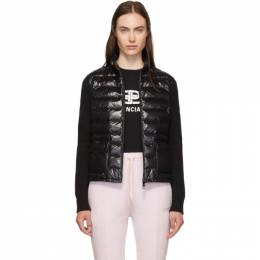 Moncler Black Down and Wool High Neck Jacket E20939457200A9107