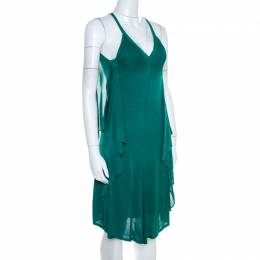 Chanel Emerald Green Perforated Mesh Knit Back Tie Detail Draped Dress S 206254
