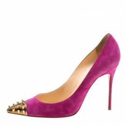 Christian Louboutin Pink Suede Geo Spike Studded Cap Toe Pumps Size 39.5 208668