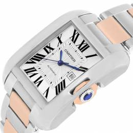 Cartier Silver Stainless Steel Tank Anglaise W5310007 Large Women's Wristwatch 29.8MM 207338