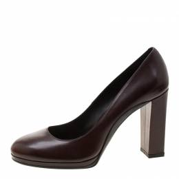 Tod's Brown Leather Block Heel Pumps Size 40 Tod's