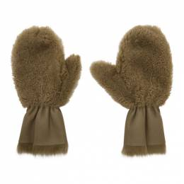 Yves Salomon Tan Merinillo and Toscana Shearling Mittens 192594F01200501GB
