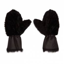 Yves Salomon Black Merinillo and Toscana Shearling Mittens 192594F01200601GB