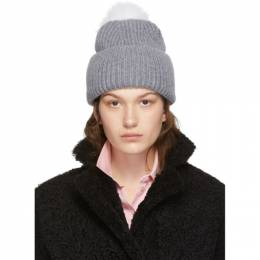 Yves Salomon Grey Bonnet Pompom Beanie 192594F01400401GB