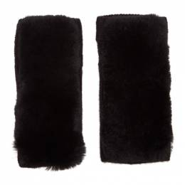 Yves Salomon Black Rex Rabbit Fur and Cashmere Gloves 192594F01201101GB