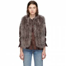 Yves Salomon Grey Feather Vest 192594F06202301GB