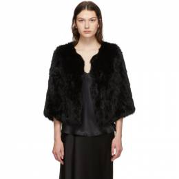 Yves Salomon Black Rabbit Fur Knitted Jacket 20WY484850KLLUN