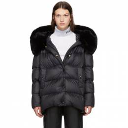 Yves Salomon Black Down Rex Rabbit Fur Coat 20W20WYV06870REDO