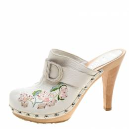 Dior White Floral Embroidered Leather Platform Clogs Size 36