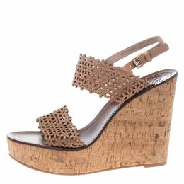 Tory Burch Beige Perforated Leather Daisy Cork Wedge Sandals Size 40.5