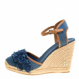 Tory Burch	 Blue Denim Shaw Espadrille Wedge Sandals Size 41 151903