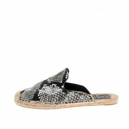 Tory Burch Tricolor Python Embossed Leather Espadrille Mules Size 38