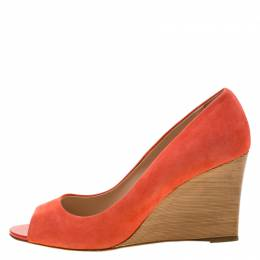 Tod's Coral Suede Peep Toe Wedge Pumps Size 40.5 Tod's