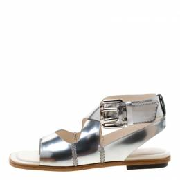 Tod's Metallic Silver Leather Cross Strap Flat Sandals Size 39 Tod's 209327