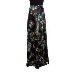 Etro Brown Floral Printed Silk Wool Blend Maxi Skirt S 148155