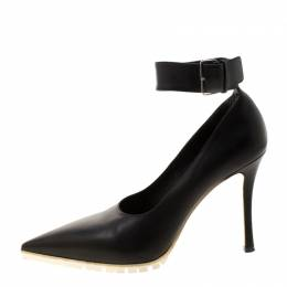 Miu Miu Black Leather Ankle Strap Pointed Toe Pumps Size 39 208616