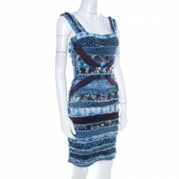 Herve Leger Blue Knit Denim Patch Detail Bandage Dress XS 209279